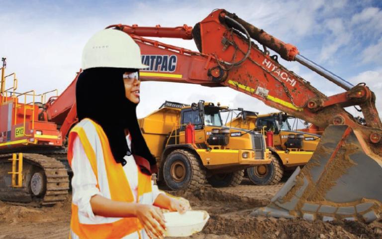 Khadija Said working at the Mkurumudzi Dam at Base Titanium