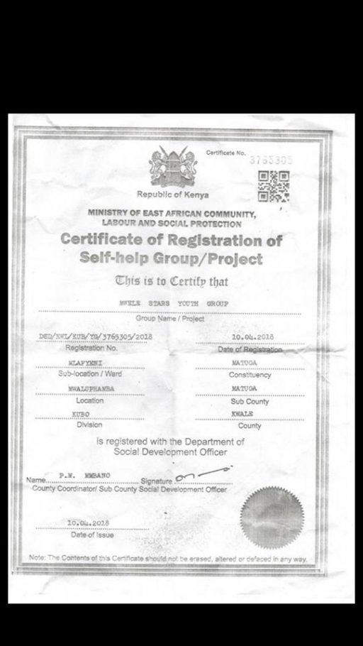 Mwele Fc Officially Becomes A Registered Self Help Group